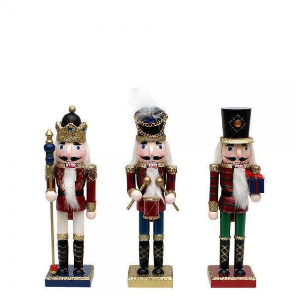 Holz Nussknacker rot klein mit goldenem Glitter 3-fach sort. 9,5 x 7 x 25,5 cm im Set