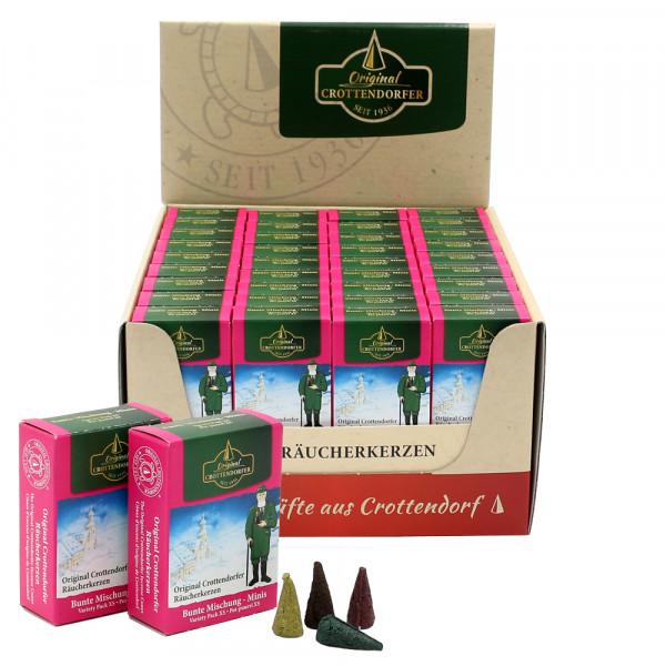 Crottendorfer-Mini-Räucherkerzen Bunte Mischung VE Achtung! Neu jetzt im Display zu 60 Stück = VE 1 29 x 15,5 x 5,5 cm
