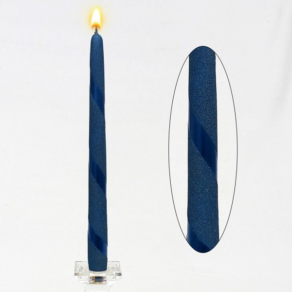 Leuchterkerze Blau Metallic Spirale 2,3 x 2,3 x 30 cm