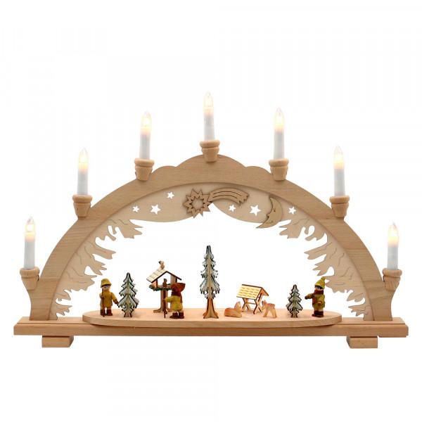 Holz Schwibbogen Moosma & Moosfra innen beleuchtet (Premiumholz) 57 x 9 x 38 cm 230 V Kabel, 10 flammig, SPK