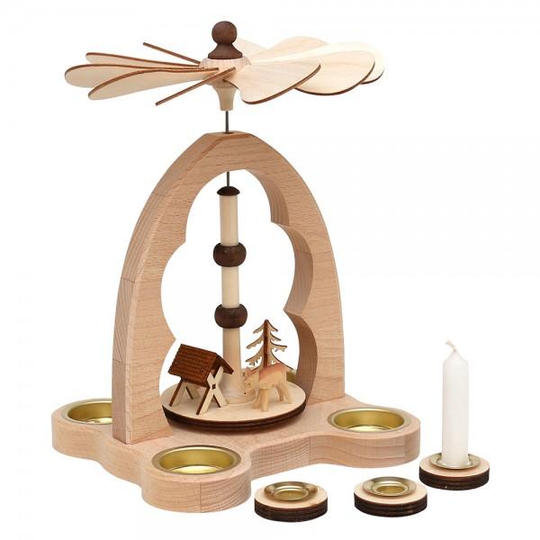 Holz Teelicht-Tischpyramide Rehe+Futterkrippe für 4 Teelichte inkl. 4 Pyramidenkerzen-Adapter (Buchenholz) 16 x 18 x 24 cm