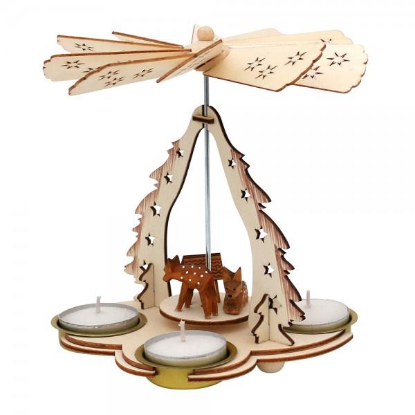 Holz Pyramide Rehe für 3 Teelichte (Laserholz) 15 x 11 x 16 cm