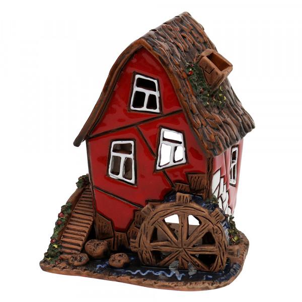 Keramik Licht-Duftölhaus (in Schornstein) Wassermühle rot 9,5 x 9 x 11 cm