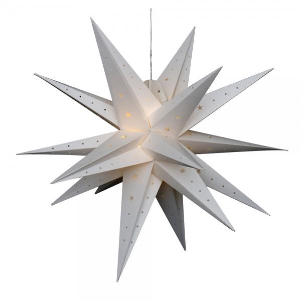 Kunststoff Falkensteiner Adventsstern 18 Spitzen zum Aufklappen, weiß 80 x 80 x 80 cm inkl. Adapter 4,5 V, LED, wetterfest/für außen geeignet