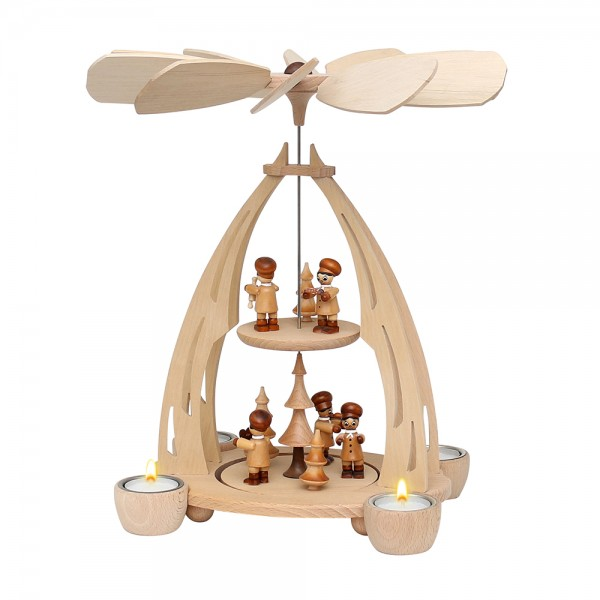 Holz Tischpyramide Weihnachtsbäckerei mittel für 4 Teelichte 20 x 24 x 35 cm
