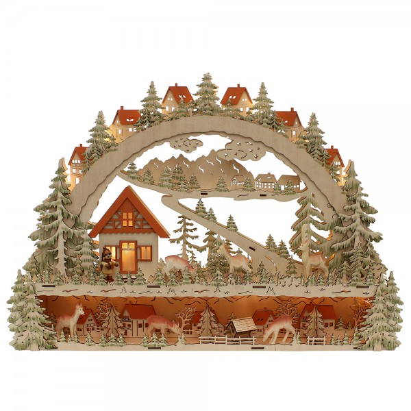 Holz Schwibbogen mit Bank Waldmotiv mit geschnitzten Rehen (Laserholz) 63 x 9 x 45 cm Batteriebetrieb AA, inkl. Adapter 4,5 V, LED, XL
