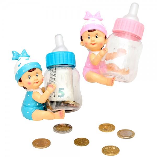 Polyresin Baby mit Nuckelflasche zum Befüllen 2-fach sort. 9,5 x 7 x 10,5 cm im Set