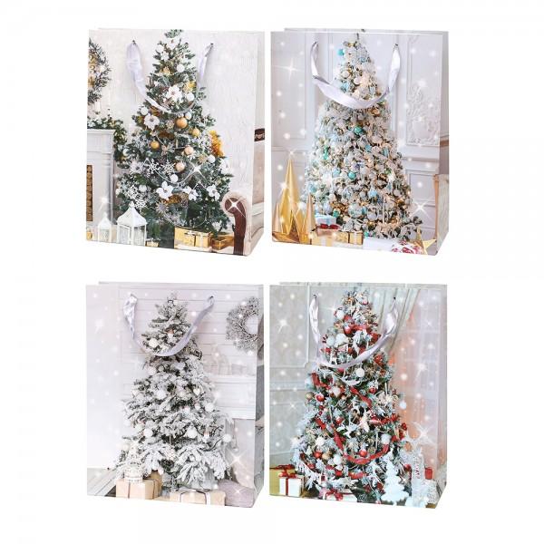Papier Tragetasche Weihnachtsbaum mit silbernem Glitter ca. Din A4 4-fach sort. 26 x 10 x 32 cm im Set