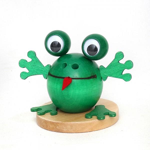 Holz Räucherfigur Frosch grün 10 x 10 x 13 cm