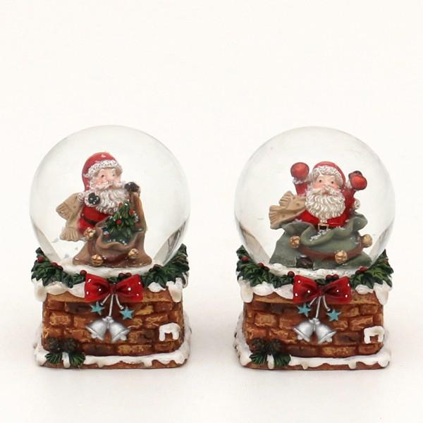 Polyresin Schneekugel Weihnachtsmann mit Sack auf Sockel 2-fach sort. 5 x 4,5 x 6,5 cm Ø 4,5 cm im Set