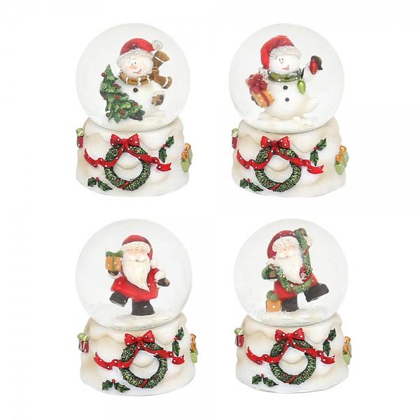 Polyresin Schneekugel Schneemann & Weihnachtsmann auf weißem Sockel mit Kranz 4-fach sort. 4,5 x 4,5 x 6,8 cm Ø 4,5 cm im Set
