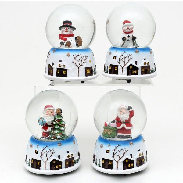 Polyresin Schneekugel Weihnachtsmann und Schneemann mit Stadtmotiv auf Sockel 4-fach sort. 8,5 x 8,5 x 11 cm Ø 8 cm Spielwerk Let it snow, Spielwerk White christmas im Set