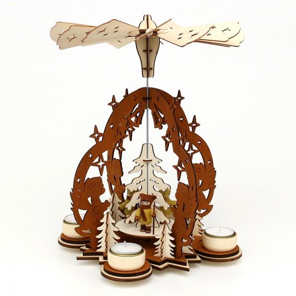 Holz Teelichtpyramide Sterntaler braun/natur, mit Moosma & Moosfra (Laserholz) für 4 Teelichte 23 x 23 x 29 cm