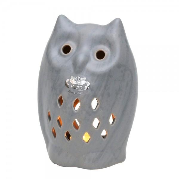 Keramik Teelichthalter Eule, Grau 12,5 x 9,5 x 18 cm