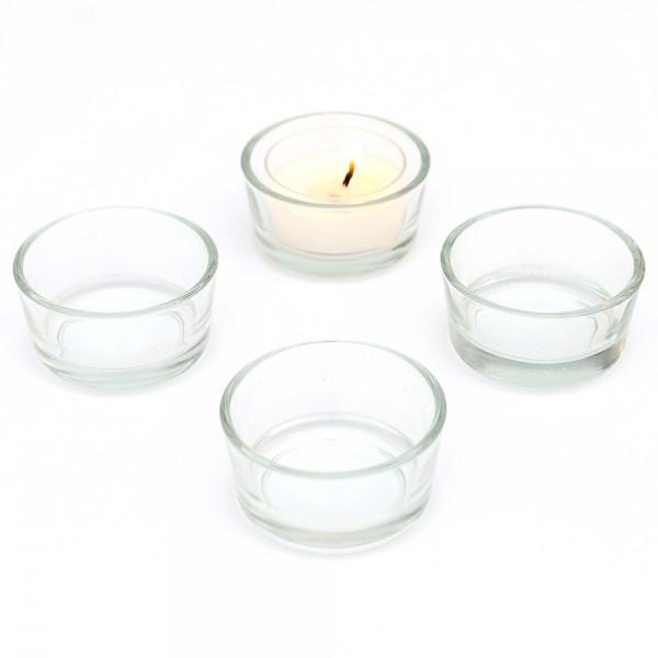 Glas Teelichthalter, klar 5 x 5 x 2,7 cm