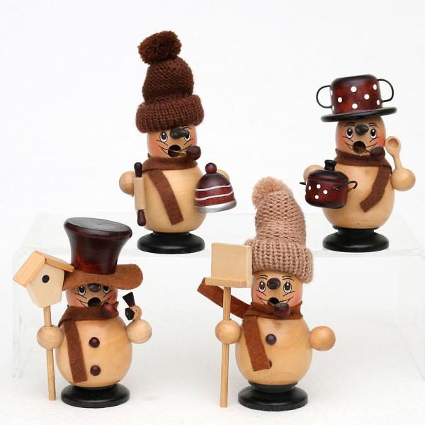 Holz Räucher-Schneemann Benny & Jenny, natur/braun 4-fach sort. 7,5 x 6 x 11 cm im Set