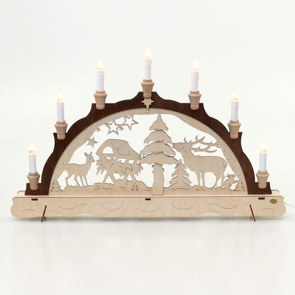 Holz Schwibbogen Wildfütterung braun abgesetzt mit 3D Baum 62 x 5 x 39 cm 230 V Kabel, 7 flammig, SPK