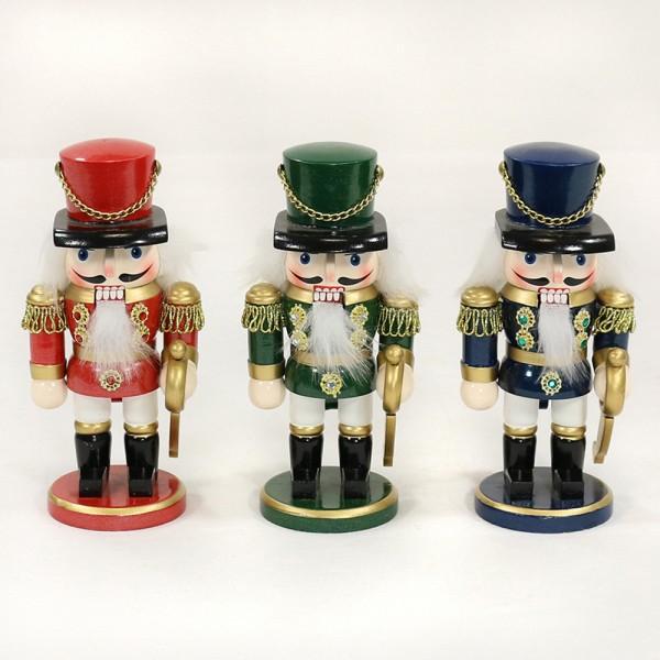 Holz Nussknacker Soldat dick, rot/blau/grün metallic 3-fach sort. 7,5 x 6 x 16 cm im Set