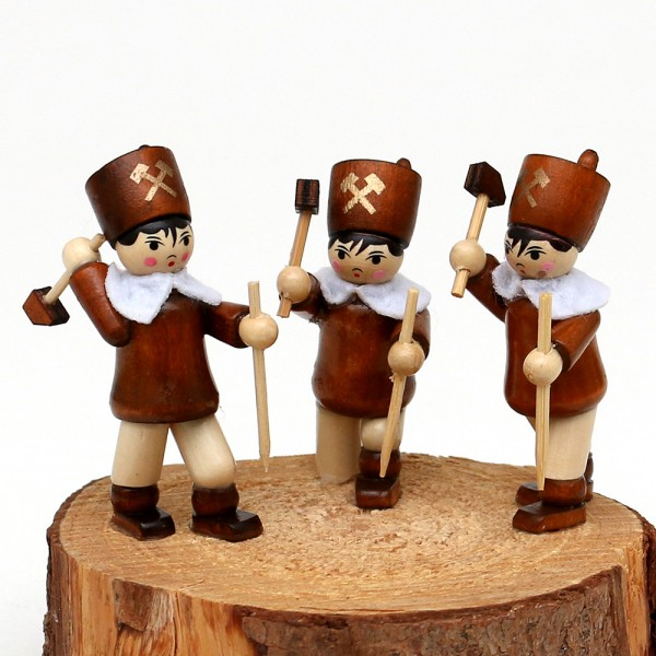 3er Set Holz Winterfiguren Steiger 2,5 x 2,5 x 5,5 cm