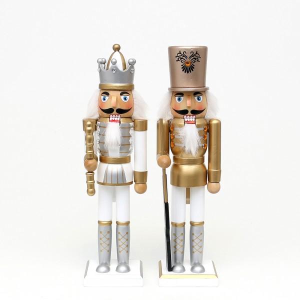 Holz Nussknacker König/Soldat, weiß und gold 2-fach sort. 8 x 6,5 x 30 cm im Set