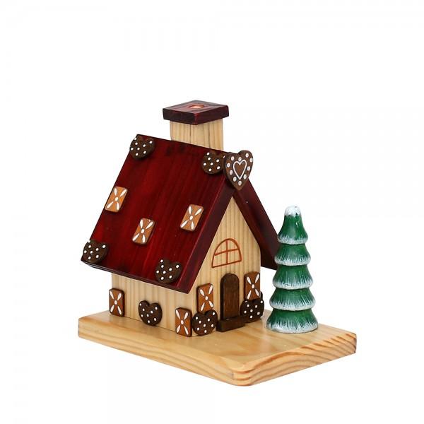 Holz Räucherhaus Pfefferkuchen, braun 12 x 8,2 x 12 cm