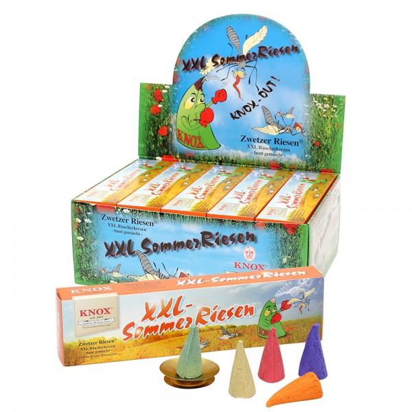 Knox-Sommerriesen 5er Räucherkerzen bunt gemischt + 1 Glimmschale 24 x 3,2 x 6,5 cm XXL
