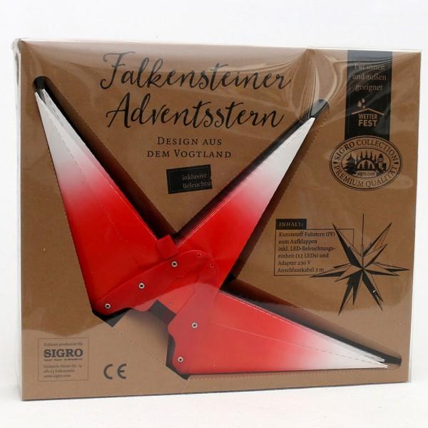 Kunststoff Falkensteiner Adventsstern 18 Spitzen zum Aufklappen, rot/weiß 60 x 60 x 60 cm inkl. Adapter 4,5 V, LED, wetterfest/für außen geeignet