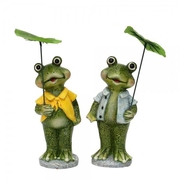 Keramik Froschfigur mit Schirm 2-fach sort. 10 x 9,5 x 23 cm im Set