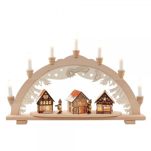 Holz Schwibbogen Stadt verschneit mit Winterfiguren innen beleuchtet (Premiumholz) 57 x 9 x 38 cm 230 V Kabel, 10 flammig, SPK