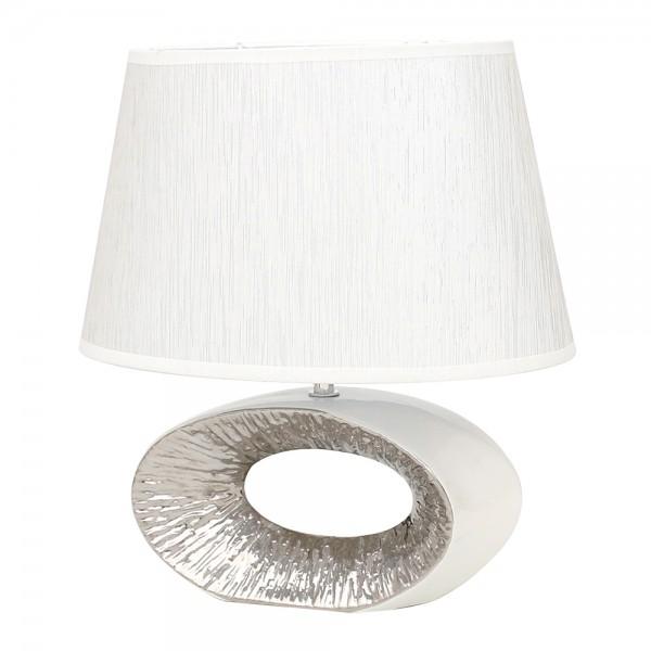 Keramik Tischlampe Elegance oval mit Loch, weiß/silber 24 x 7 x 35 cm 230 V Kabel, E27