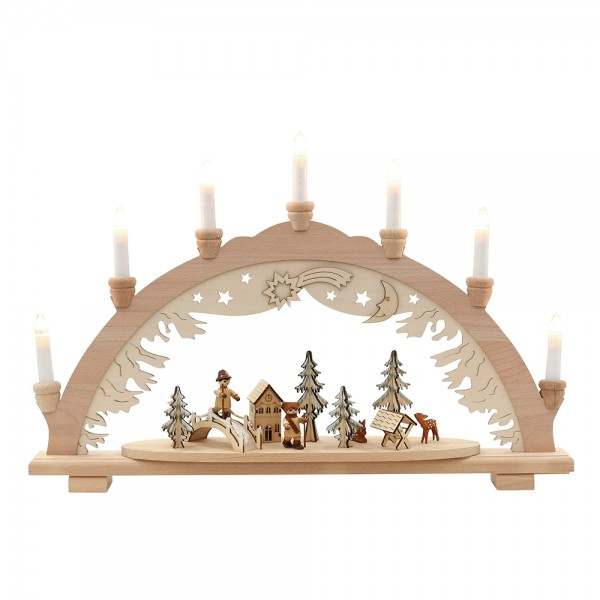 Holz Schwibbogen Wald mit Waldleuten (Premiumholz) 57 x 9 x 38 cm 230 V Kabel, 7 flammig, SPK