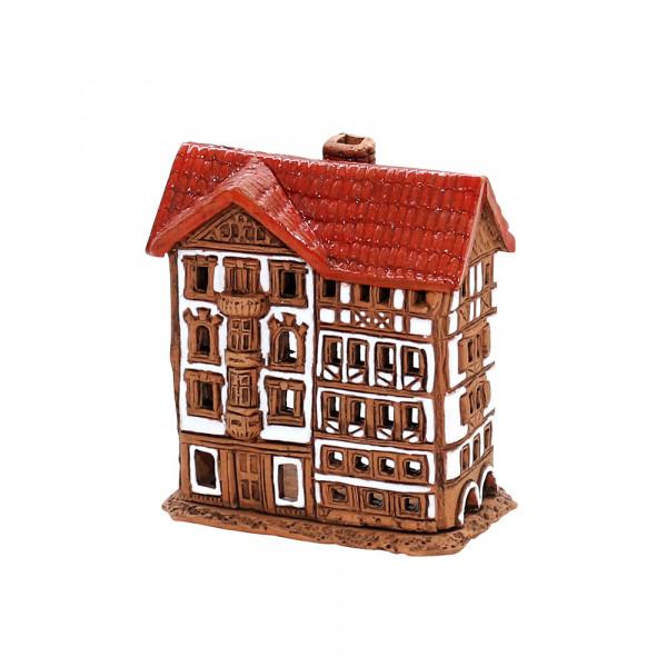 Keramik Lichthaus Fachwerkhaus braun 7,5 x 5 x 8,5 cm