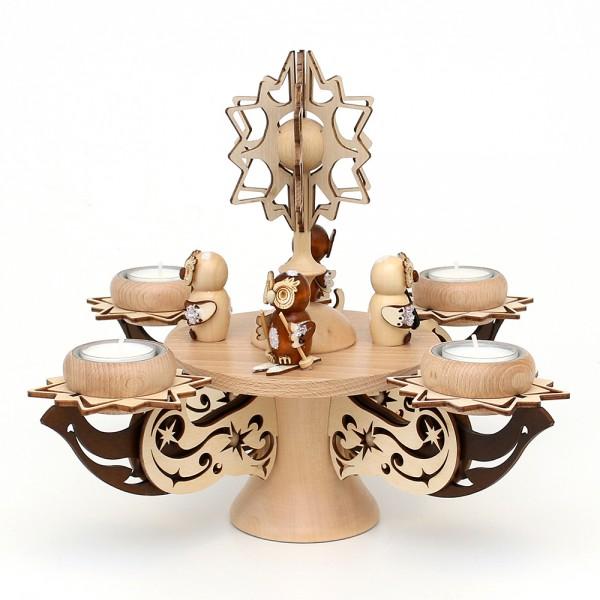 Holz Adventsleuchter mit Stern, Eulenwald, natur/braun, edel verziert, für 4 Teelichte 28 x 28 x 27 cm