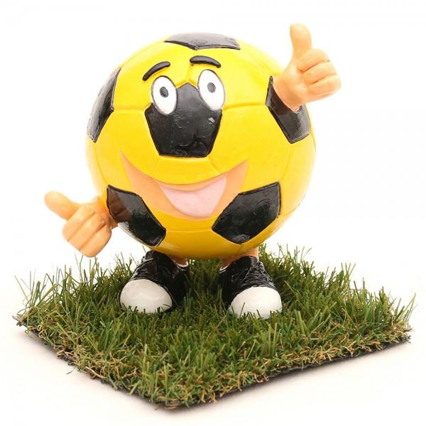 Keramik Spardose Funny Football, gelb/schwarz 14 x 12 x 15 cm
