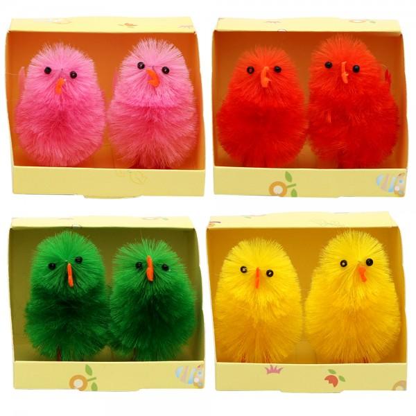 2er Set Kunststoff Küken in Geschenkbox (Chenille) Farben 4-fach sort. 4 x 3 x 6 cm im Set
