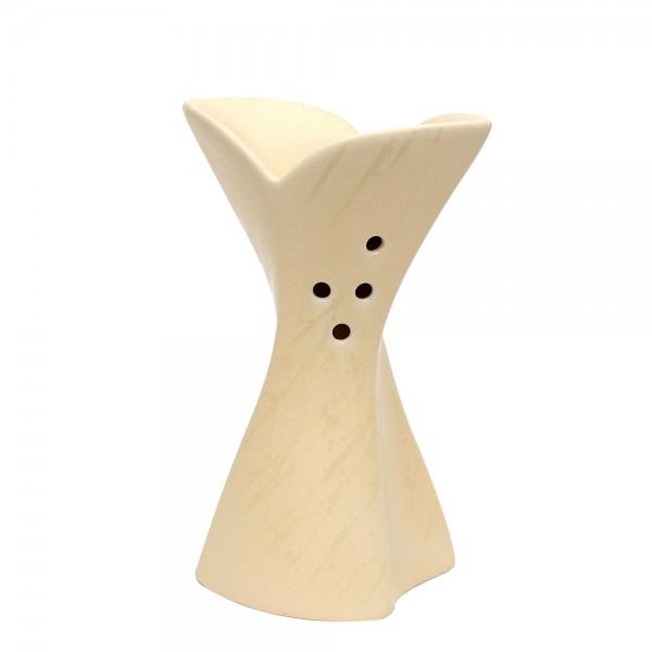 Keramik Duftlampe Blüte, Champagner 12 x 7 x 18,5 cm