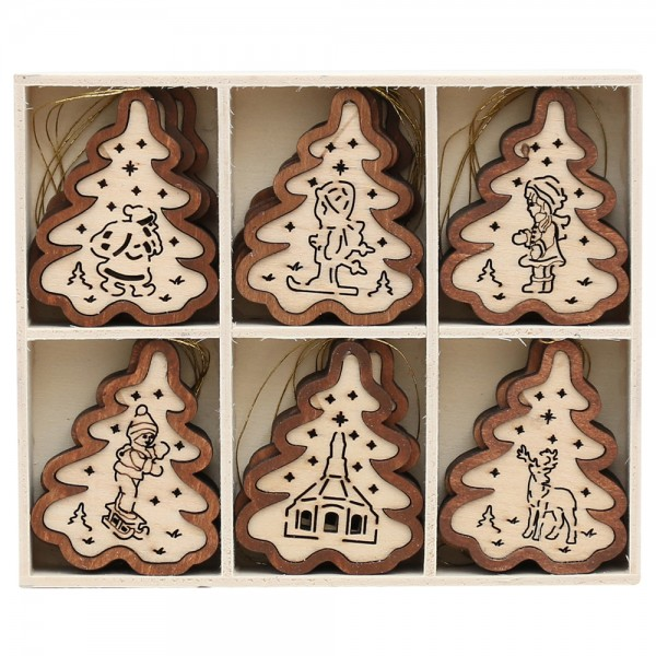 24er Set Holz Anhänger Baum 2-farbig 6 Motive, natur/braun 4,5 x 6 cm