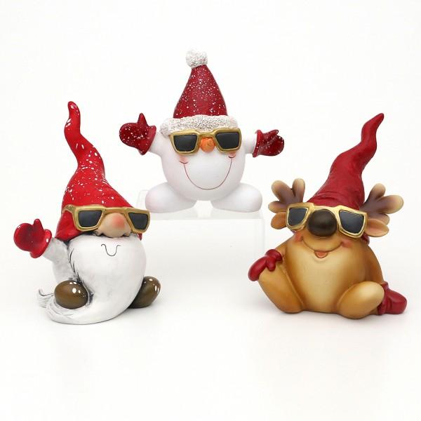 Polyresin Santa, Schneemann & Rentier Cool mit Sonnenbrille sitzend 3-fach sort. 16 x 9 x 20 cm im Set