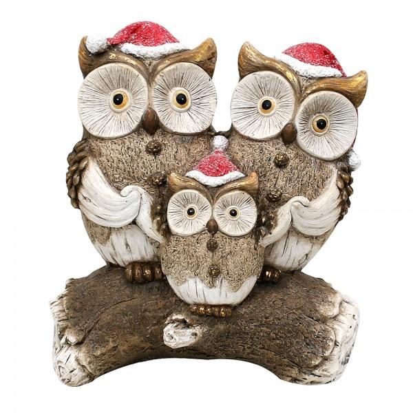 Keramik Eulenfamilie mit Weihnachtsmütze auf Baumstamm 25,5 x 13,5 x 29 cm MGO