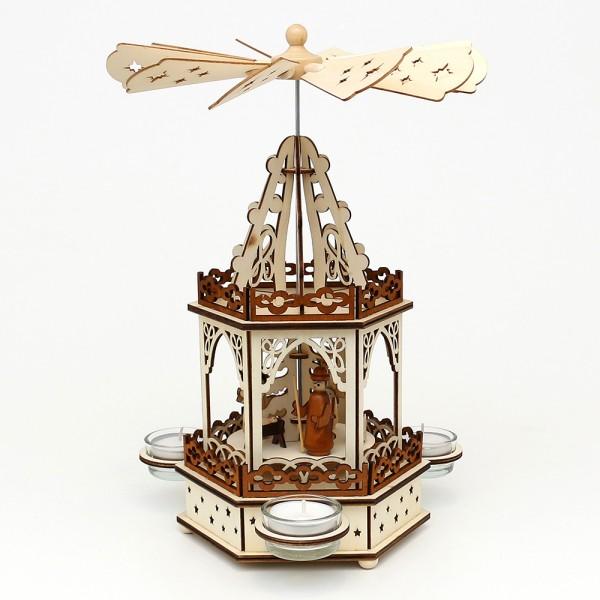 Holz Teelichtpyramide Heilige Familie 2 Etagen (Laserholz) für 3 Teelichte 16,5 x 14,5 x 33 cm