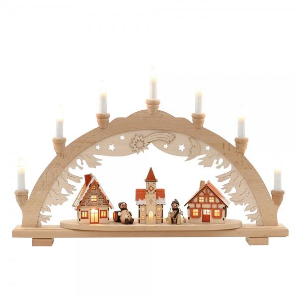 Holz Schwibbogen mit Schneemannfiguren & verschneiten Häusern innen beleuchtet (Premiumholz) 57 x 9 x 38 cm 230 V Kabel, 10 flammig, SPK