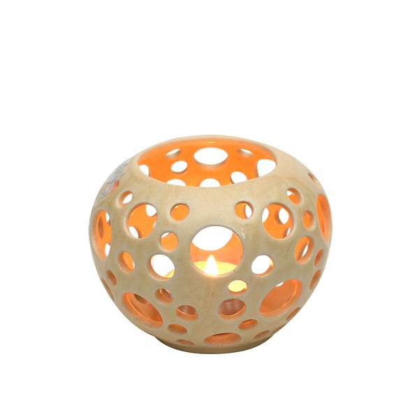Keramik Leuchter Orion, Champagner 9,5 x 9,5 x 7 cm
