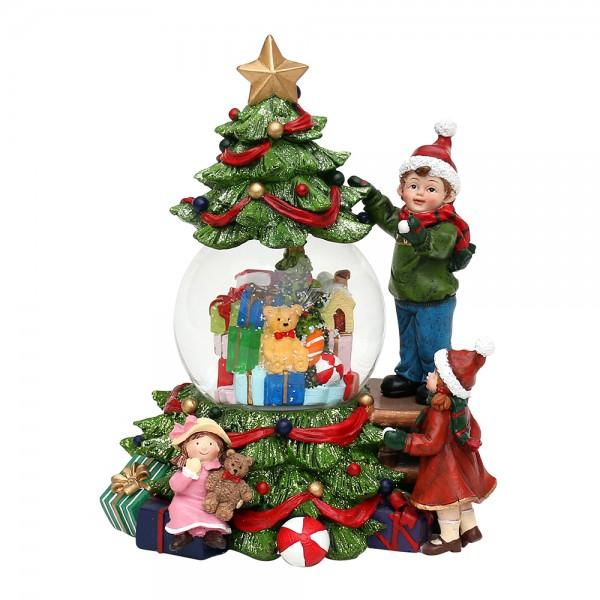 Polyresin Schneekugel Kinder am Weihnachtsbaum 18 x 16 x 23 cm Ø 10 cm Batteriebetrieb AAA, LED, Farbwechsel, Glitterwirbel, Sound