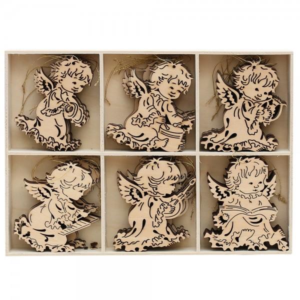36er Set Holz Anhänger Engel 6 Motive (Laser) 8 x 8 cm
