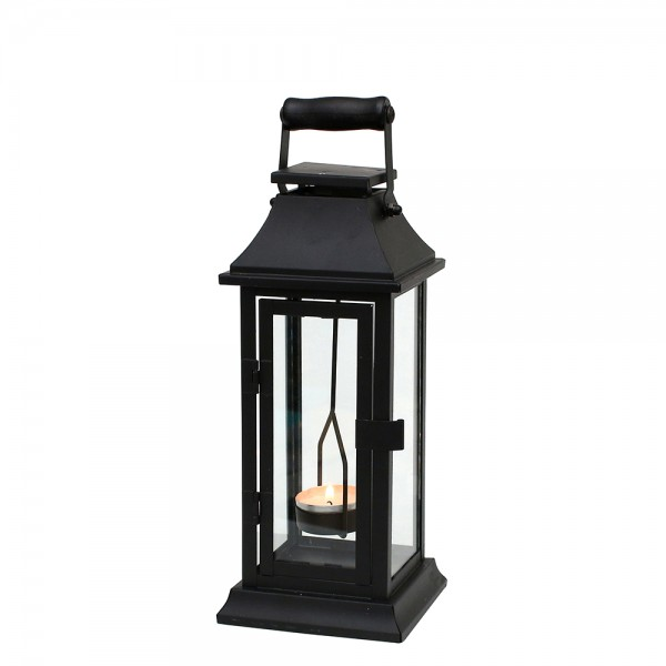 Metall Laterne schwarz mit Klarglasscheiben und Teelichthalter zum Hängen 11 x 11 x 29 cm