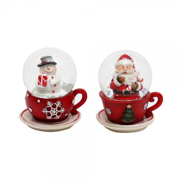 Polyresin Schneekugel Santa & Schneemann in Tasse 2-fach sort. 5,5 x 7 x 6 cm Ø 4,5 cm im Set