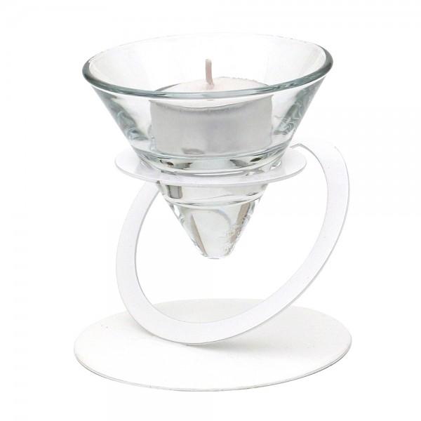 Metall Kerzenhalter weiß glänzend, mit Doppelkreis 9 x 9 x 9,5 cm