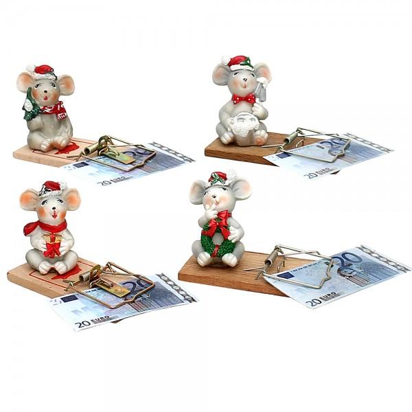 Polyresin Weihnachts-Maus auf Mausefalle 4-fach sort. 10 x 4 x 6 cm im Set