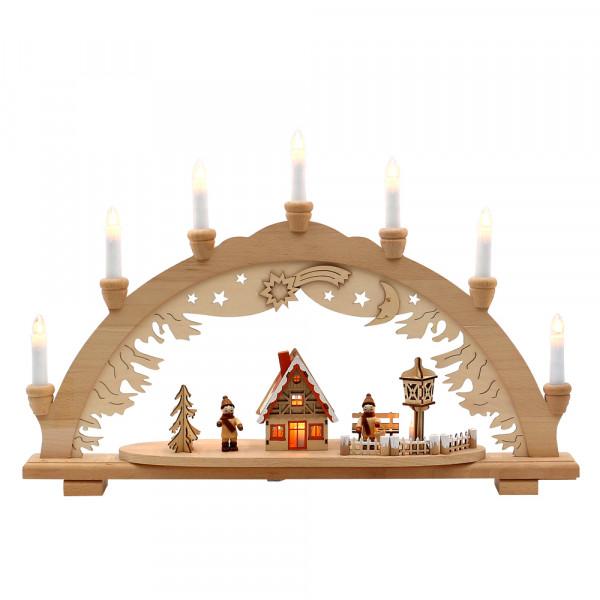 Holz Schwibbogen Winterfiguren & Waldhaus verschneit innen beleuchtet (Premiumholz) 57 x 9 x 38 cm 230 V Kabel, 10 flammig, SPK