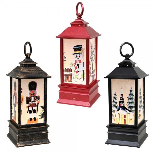Kunststoff LED-Laterne schwarz-metallic,rot-metallic, braun/gold mit Weihnachtsmotiven 3-fach sort. 9 x 9 x 23 cm Batteriebetrieb AAA, LED im Set